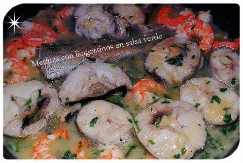 Merluza con langostinos en salsa verde my blog el arte de cocinar - Cocinar merluza en salsa ...